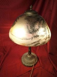 Antique Reverse Painted Glass Lamp