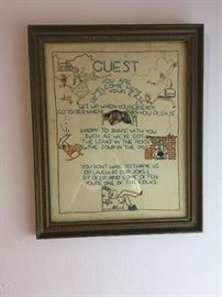 Antique needlepoint picture.