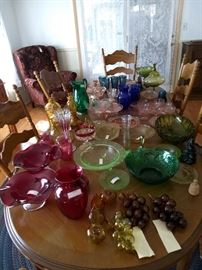 Glass items, dining table and chairs