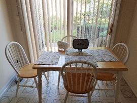 Wooden Dinette + 4 chairs - White & Light Wood color