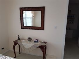 Beautiful Wooden Console + Mirror