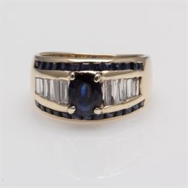 14K Yellow Gold 1.115 CTW Sapphire Ring