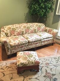 floral sofa with matching ottoman