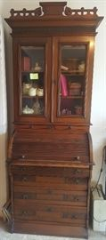Victorian Eastlake roll top desk