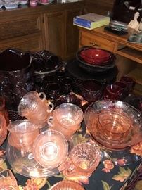 GREEN / PINK / RED DEPRESSION GLASS