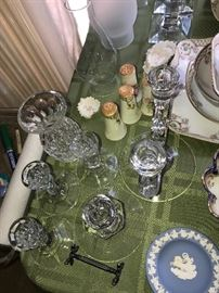 ANTIQUE CRYSTAL CANDLEHOLDERS
