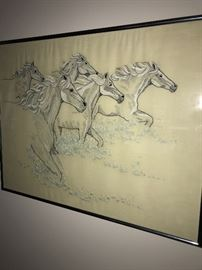 NEEDLEPOINT WATER HORSES PICTURE