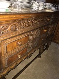 ANTIQUE WOODEN HAND CARVED BUFFET
