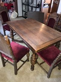 ANTIQUE WOODEN HAND CARVED TABLE AND 6 CHAIRS
