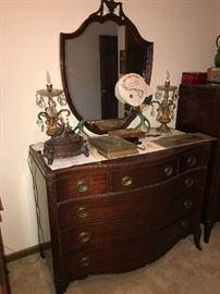 VINTAGE MAHOGANY DRESSER WITH MIRROR