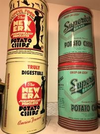VINTAGE POTATO CHIPS TIN CANS
