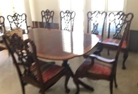 Dining Mahogany - Inlaid Table, Double Pedestal, 3  & Leaves & 10 Chairs