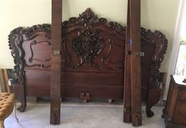 Carved Wood, King Headboard, Dresser & Chest & 2 Night Stands