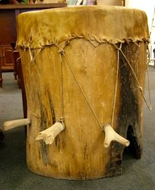 Natural Wood Drum Table w Rawhide top & Antler Trim, one of a kind Table