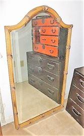 Large vintage bamboo mirror