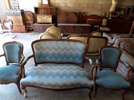 Two car garage filled with antiques                                                                    Blue French settee $450  Blue French chairs $125 each