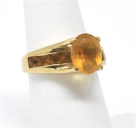 14k gold citrine ring with channel set small citrine