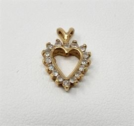 Small gold plate heart pendant with white stones