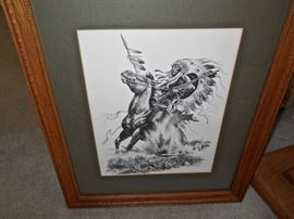 NATIVE AMERICAN SIGNED PRINT