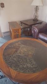 Set of 4 Tables Oak & Stone Surface.  1 Circle Coffee Table and 3 End Tables