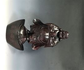 LOT 990 WOOD CARVED BUDDHA