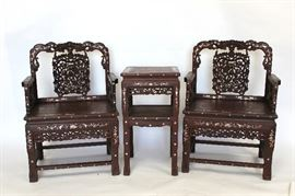 LOT 975 MOP Inlaid Wood Chair Set