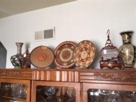 vintage Indian basket weavings, antique Asian birdcages