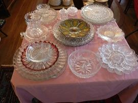 Many glass trays and serving platters.. great quality! Priced to sell fast.