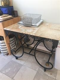 Iron base bistro table with marble top