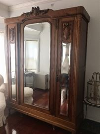 Large French c. 1930's vintage mirrored wardrobe