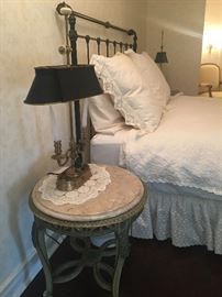 Antique marble top table & black iron Full size bed