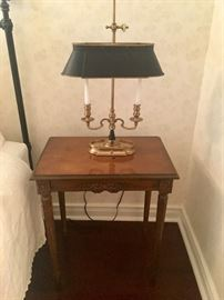 Antique end table & lamp