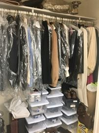 Closets of clothes & shoes