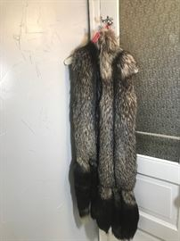 Fox fur vest with hanging tails