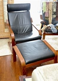 PAIR Ikea leather chairs with foot rests
