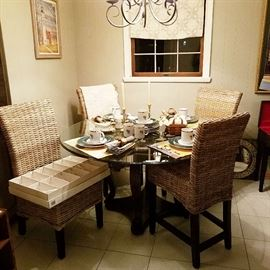 Glass Top Table & 4 Rattan Highback Chairs