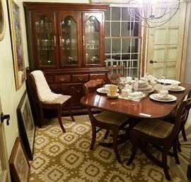 Cherry Drop Leaf Table & 6 Upholstered Chairs, Cherry 2-pc China Cabinet, Area Rugs, Artwork, Stemware, China