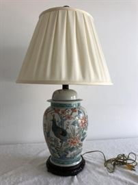 Asian Bird Lamp with Wooden Base, Crackle Finish, Asian Finial