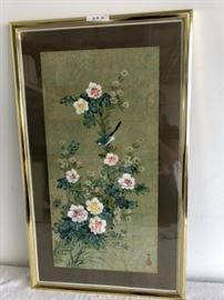 Asian Drawing on Paper with Asian Signage and Gold Metal Frame