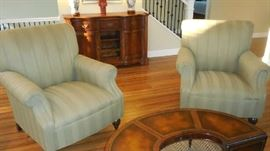 Living Room:  A pair of classic arm chairs (GUINEVIRE SAGE) were originally purchased at EXPRESSIONS on Clayton Road and are priced individually.