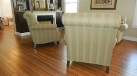 Living Room: This photo shows a side view of one of the Guinevire Sage chairs and back view of the other.