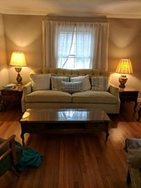 Brand New Huntington House Couch--SOLD,  Vintage coffee tables and end tables STILL AVAILABLE