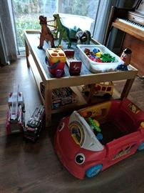 Chalkboard top toddler play table and lots of toys