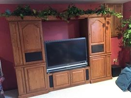 Oak entertainment center with surround sound