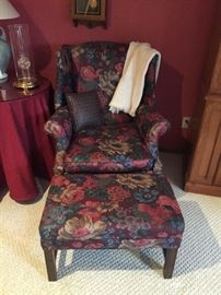 Lovely floral chair and ottoman
