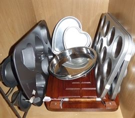 Cake pans including Wilton, Wooden meat carving board