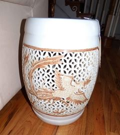 Dragon motif ceramic garden stool