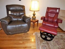La-Z-Boy leather Recliner on left, Leather Lounge Swivel Chair with ottoman on right