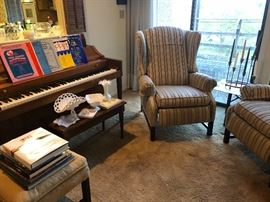 Acrosonic Piano by Baldwin. Sheet music, assorted, milk glass pieces, reclining chairs, and more home decor.
