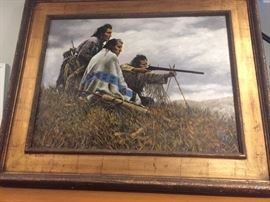 Very large original painting of Native Americans firing a rifle